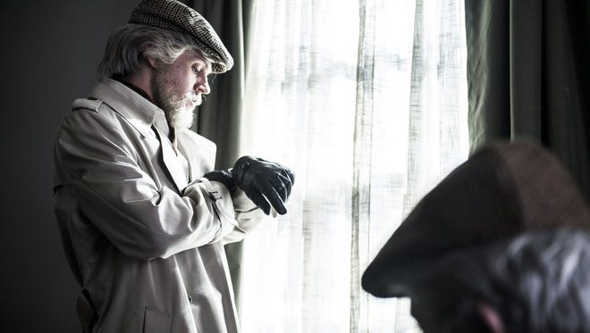 """Evan Peters, dressed unconvincingly as an old guy, keeps an eye on his watch in """"American Animals."""""""