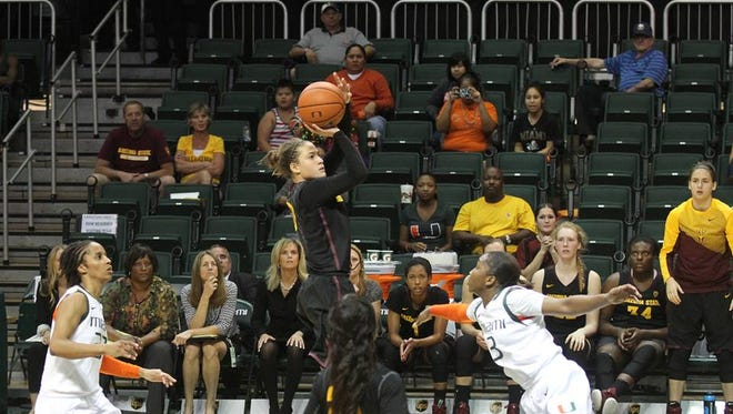 Katie Hempen led with 17 points Tuesday night in Arizona State's 65-61 comeback win at Miami.