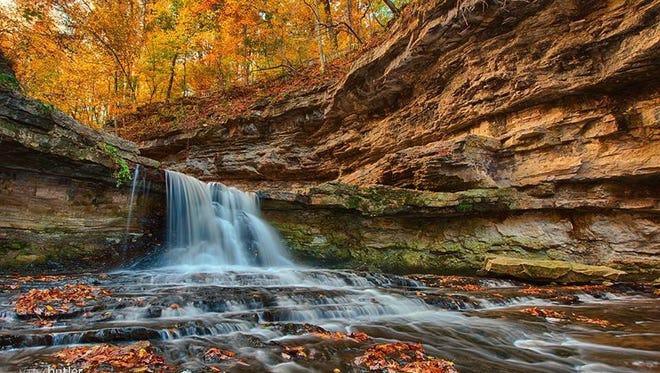 A fall waterfall in Indiana.