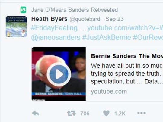 "A screenshot of Jane Sanders'  retweet of one of the ""Bernie or Bust"" crowd's favorite videos of her husband, Sen. Bernie Sanders, from the Democratic primary campaign."