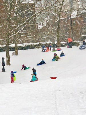 Kids are having a great time sledding at Titus Sparrow Park in the South End.
