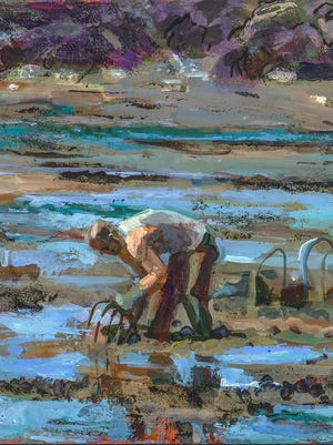 """Grant Drumheller """"In the Mud"""" Acrylic on linen, 20"""" x 20"""""""
