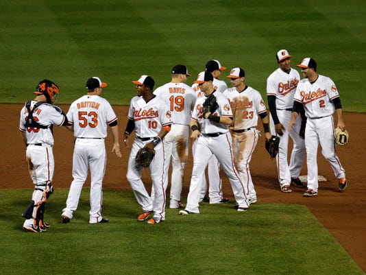Members of the Baltimore Orioles celebrate after closing out a baseball game against the Toronto Blue Jays in Baltimore, Thursday, April 21, 2016. Baltimore won 3-2. (AP Photo/Patrick Semansky)
