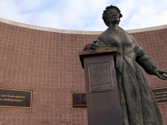 The Sojourner Truth Monument in downtown Battle Creek.
