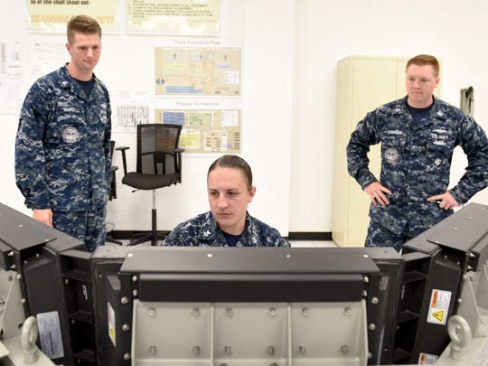 Students in the Joint Cyber Analysis Course at Information Warfare Training Command Corry Station take part in an independent study session in October. JCAC trains enlisted personnel from all services in the skills and knowledge to perform technical network analysis in cyberspace operations.
