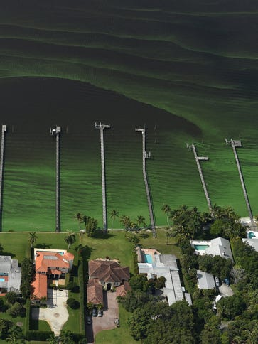 Waves of algae in the St. Lucie River are seen offshore