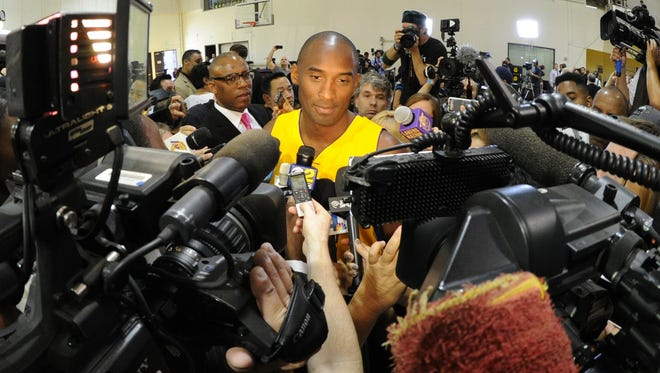Lakers guard Kobe Bryant attended media day but left for Germany a few days after.