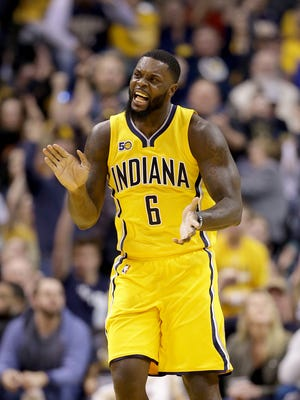 Indiana Pacers guard Lance Stephenson (6) celebrates hitting a shot late in the second half of their game Tuesday, April 4, 2016, evening at Bankers Life Fieldhouse. The Indiana Pacers defeated the Toronto Raptors 108-90.