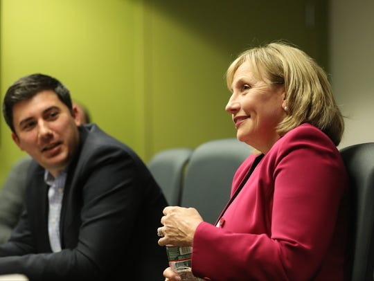 Lt. Gov. Kim Guadagno at The Record on Tuesday.