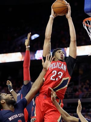 New Orleans Pelicans forward Anthony Davis (23) goes up for a dunk during the second half Sunday.