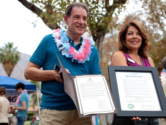 Cathedral City Councilmember, Shelley Kaplan, and La Quinta Mayor, Linda Evans, proclaim Transgender Pride Day for their respected communities at Ruth Hardy Park in Palm Springs, Sunday.
