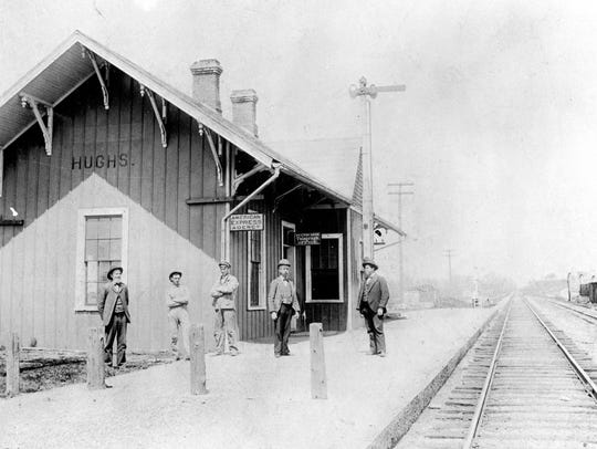 This circa 1911 photo shows the Hughes train station,
