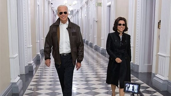 Vice President Biden and Julia Louis-Dreyfus filming their White House Correspondents' Dinner segment.