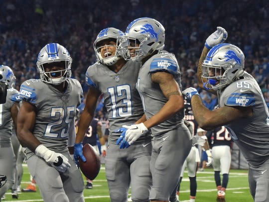 Lions receiver TJ Jones (13) set career highs this season in catches (30) and yards (399).