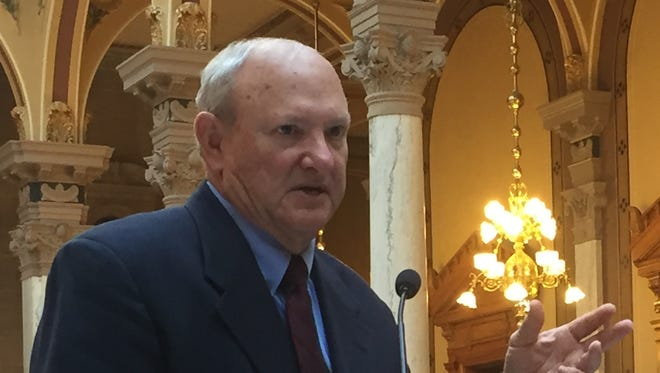 Sen. Luke Kenley joins Rep. Tim Brown to discuss the recommendations of the Funding Indiana's Roads for a Stronger Safer Tomorrow task force Monday, Dec. 19, 2016.