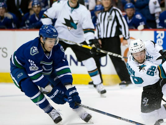FILE - In this April 2, 2017, file photo, Vancouver Canucks' Griffen Molino, left, deflects a shot by San Jose Sharks' Melker Karlsson, right, of Sweden, during the third period of an NHL hockey game, in Vancouver, British Columbia. Going directly from college hockey to the NHL is the new norm for top young players like Molino. (Darryl Dyck/The Canadian Press via AP, File)