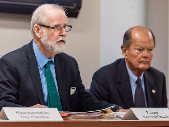 Senator Harris McDowell makes remarks at the Public