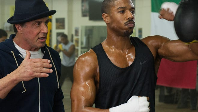 """Sylvester Stallone as Rocky Balboa and Michael B. Jordan as Adonis Johnson in  """"Creed."""""""
