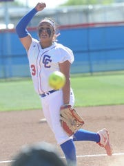 Cooper pitcher Camille Scott throws a pitch in the second inning against Lubbock High. Cooper won the District 4-5A game 9-2 Friday, March 31, 2017 at Cougar Diamond.