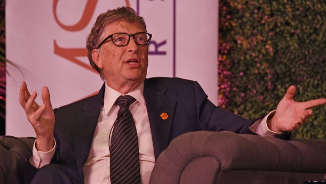Bill Gates visited Clemson University for a question-and-answer session with students at Tillman Hall on Monday.