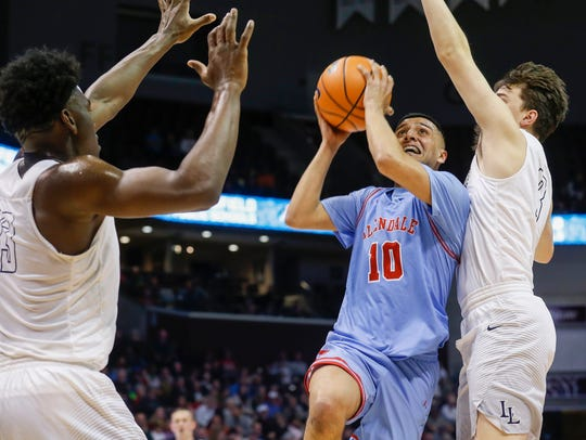 onty Johal, of Glendale, puts up a shot during the Falcons' 91-65 loss to La Lumiere in game 2 of the Bass Pro Shops Tournament of Champions at JQH Arena on Thursday, Jan. 11, 2018.