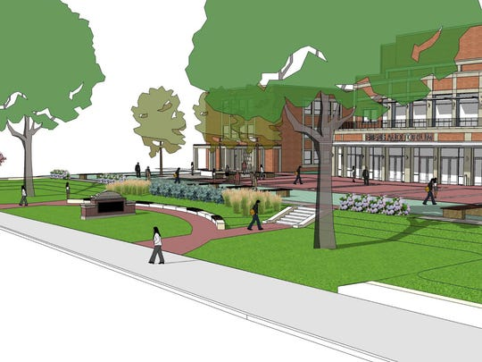 An image of the new front lawn to be constructed at Emens Auditorium.