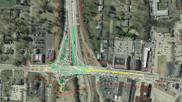 A rendering of the roundabout that will be replacing the intersection of Montgomery Road and Ronald Reagan Cross County Highway.