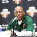 FAMU head coach Alex Wood speaks at a press conference after the Rattlers' 35-14 loss to Bethune-Cookman in the Florida Classic.