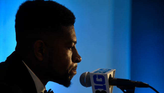 Michigan State safety Khari Willis speaks during Big Ten Conference NCAA college football media days in Chicago.