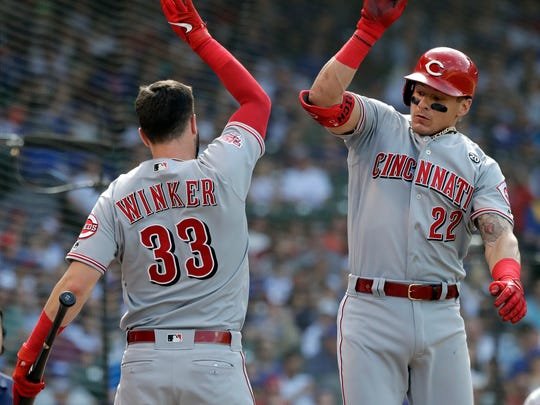 Cincinnati Reds' Derek Dietrich, right, celebrates with Jesse Winker after hitting a solo home run against the Chicago Cubs during the eighth inning of a baseball game Saturday, May 25, 2019, in Chicago. (AP Photo/Nam Y. Huh)