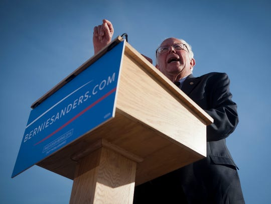 Sen. Bernie Sanders, I-Vt., delivers his speech as