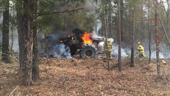 A fire totally damaged a John Deere wood shearer valued at $220,000.