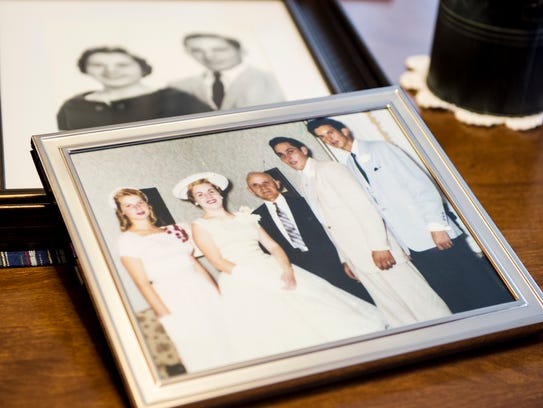 A photo from Ray and Patricia Mills wedding sits on
