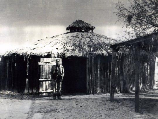 Francisco Patencio at the ceremonial house c. 1945.