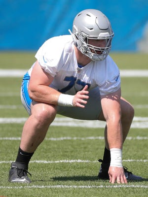 Lions offensive lineman Frank Ragnow goes through drills during OTAs on Thursday, May 24, 2018, at the Allen Park practice facility.