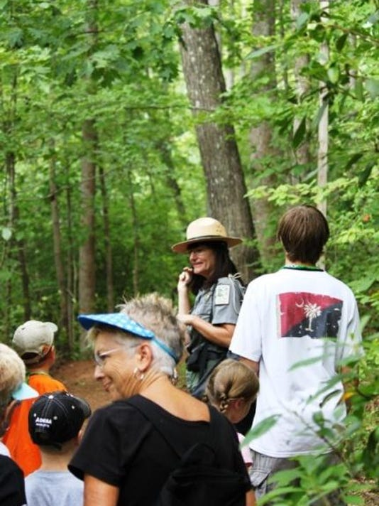 Families on the trail at Paris Mountain