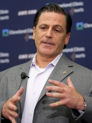 Cleveland Cavaliers owner Dan Gilbert talks to the media during a news conference in Independence, Ohio.