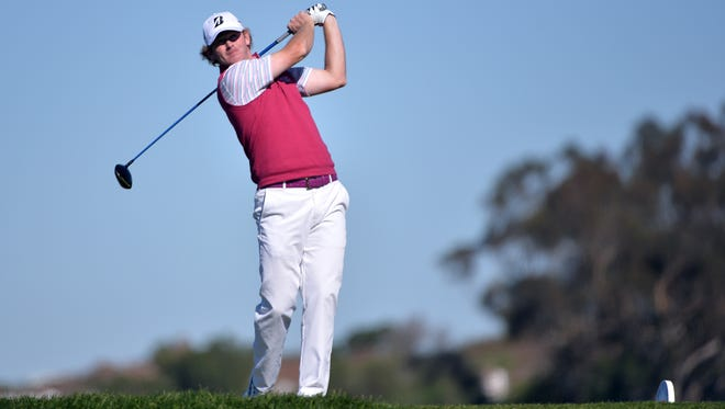 Brandt Snedeker tees off on the 5th hole during the third round of the Farmers Insurance Open golf tournament at Torrey Pines Municipal Golf Course - South Course.
