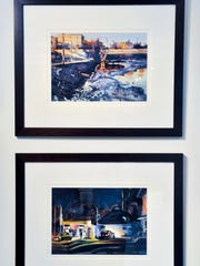 "Dan Mondloch's paintings, ""Feeding the Ducks"" and ""Schmidty's"
