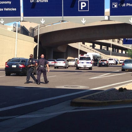 Terminal 4 at Phoenix Sky Harbor International Airport was on lockdown as police searched for a Tempe shooting suspect Thursday afternoon.
