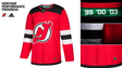 A close-up of the new Devils home jersey championship