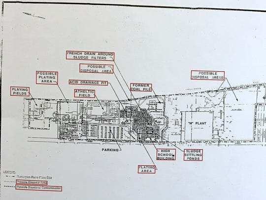 This map provided by Walter Hang shows the location of possible industrial contamination at Elmira High School.