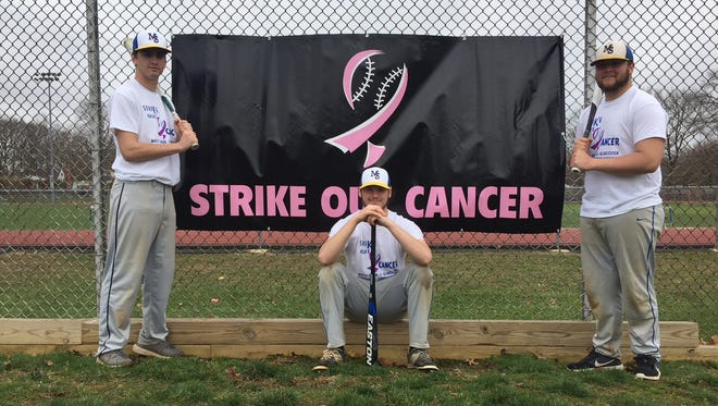 Maple Shade seniors (from left) Evan Horvath, Damien Bowman-Clark and Brett Dougherty are excited for the second-annual Strike Out Cancer Tournament on Friday.