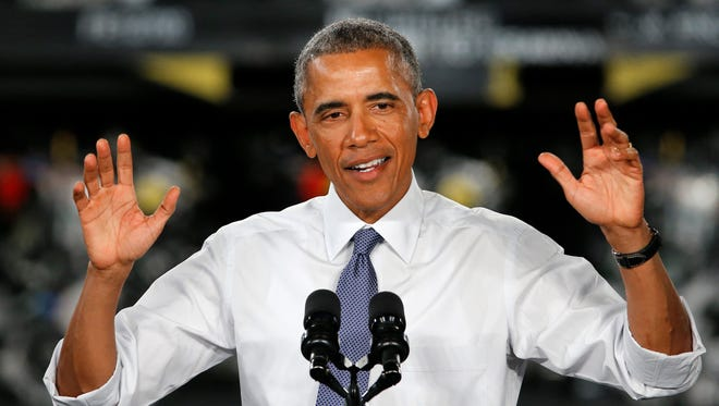 President Obama speaks at Ford's Michigan Assembly Plant in Wayne, Mich.,Jan. 7, 2015.  Calling the 2009 federal auto bailout a success story, Obama touted steps taken by his administration that he said have brought the economy and U.S. manufacturing roaring back to life.