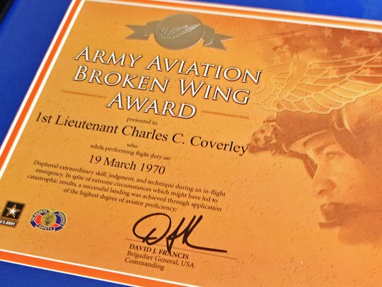 Charles Coverley's Army Aviation Broken Wing Award.