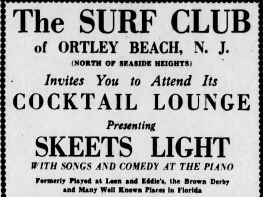 """Ad for """"The Surf Club"""" in Ortley Beach from the June"""