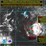 Developing tropical disturbance to pass over the Marianas today