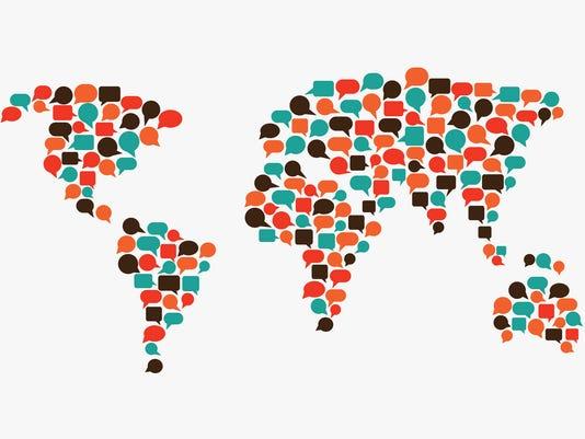 World map made of speech bubbles. Translating, interpreter, communication concept