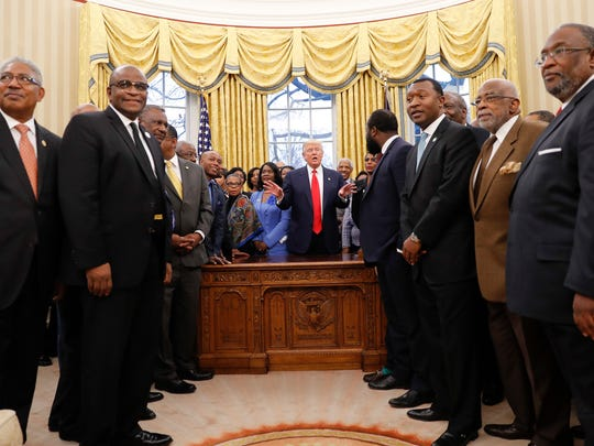President Donald Trump meets with leaders of Historically