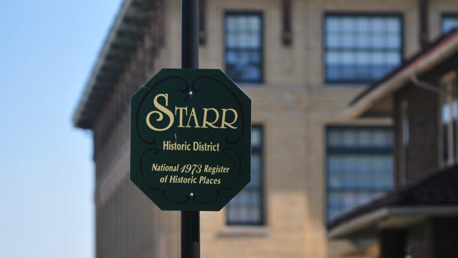 The Starr Historic District runs from North A Street to North E and from the alley between North Ninth and 10th streets to North 16th.